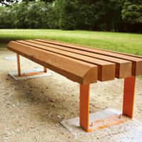 Mobilier urbain banc bois et acier - Mobilier urbain banc bois ...